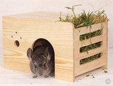 A chinchilla house made from untreated natural pinewood with a hay rack included on the side to save cage space. ©